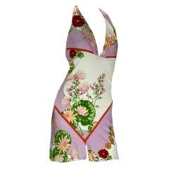 Vintage Versace Lotus Print Mini Dress