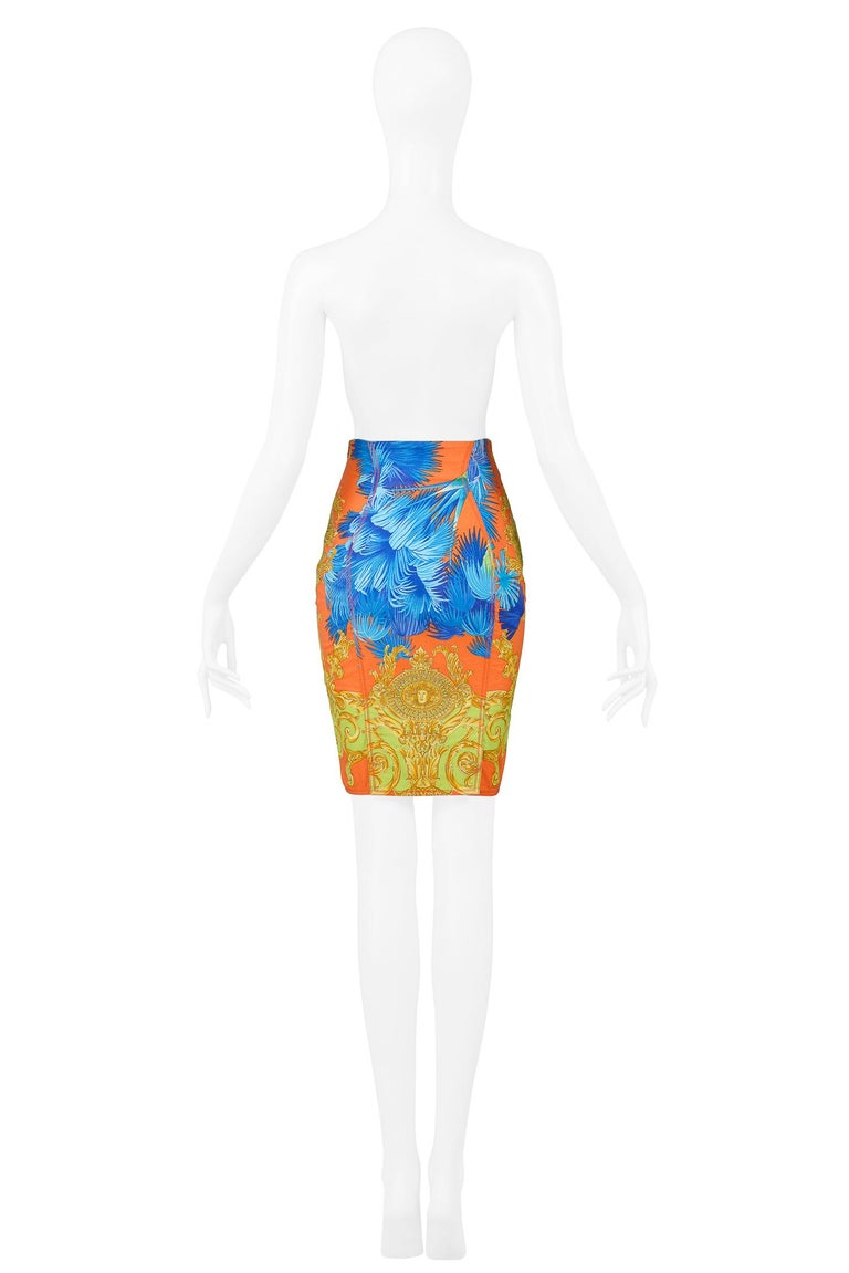 Orange Vintage Versace Multicolor Palm & Baroque Print Pencil Skirt 1990s For Sale