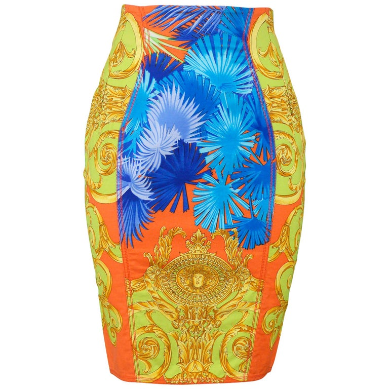 Vintage Versace Multicolor Palm & Baroque Print Pencil Skirt 1990s For Sale