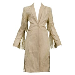 Vintage Versace Tan Leather Western Trench with Fringe Runway 2003