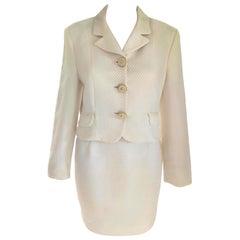 Gianni Versace Versus Cream & Crystal Diamond Jacket Skirt Suit IT 42/ US 4 6