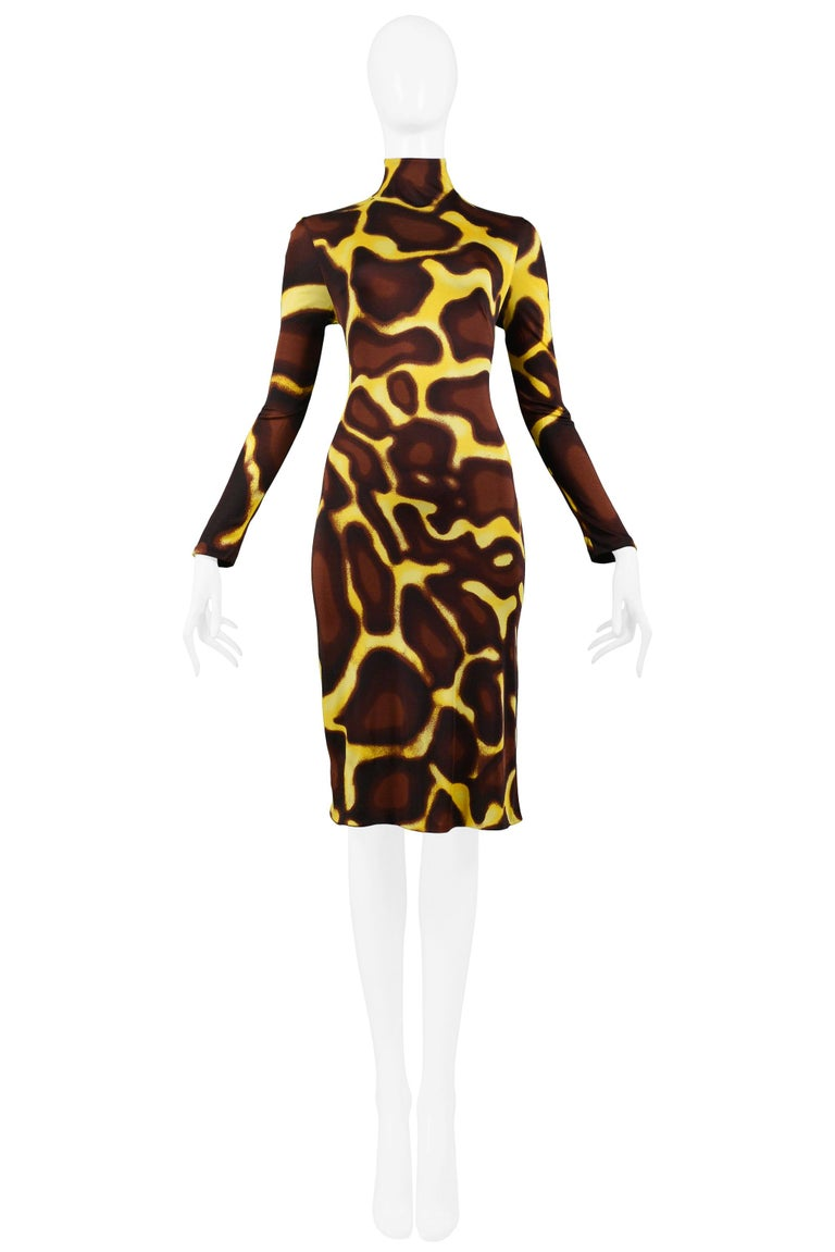 Black Vintage Versace Yellow Giraffe Print Dress with Fur Collar For Sale