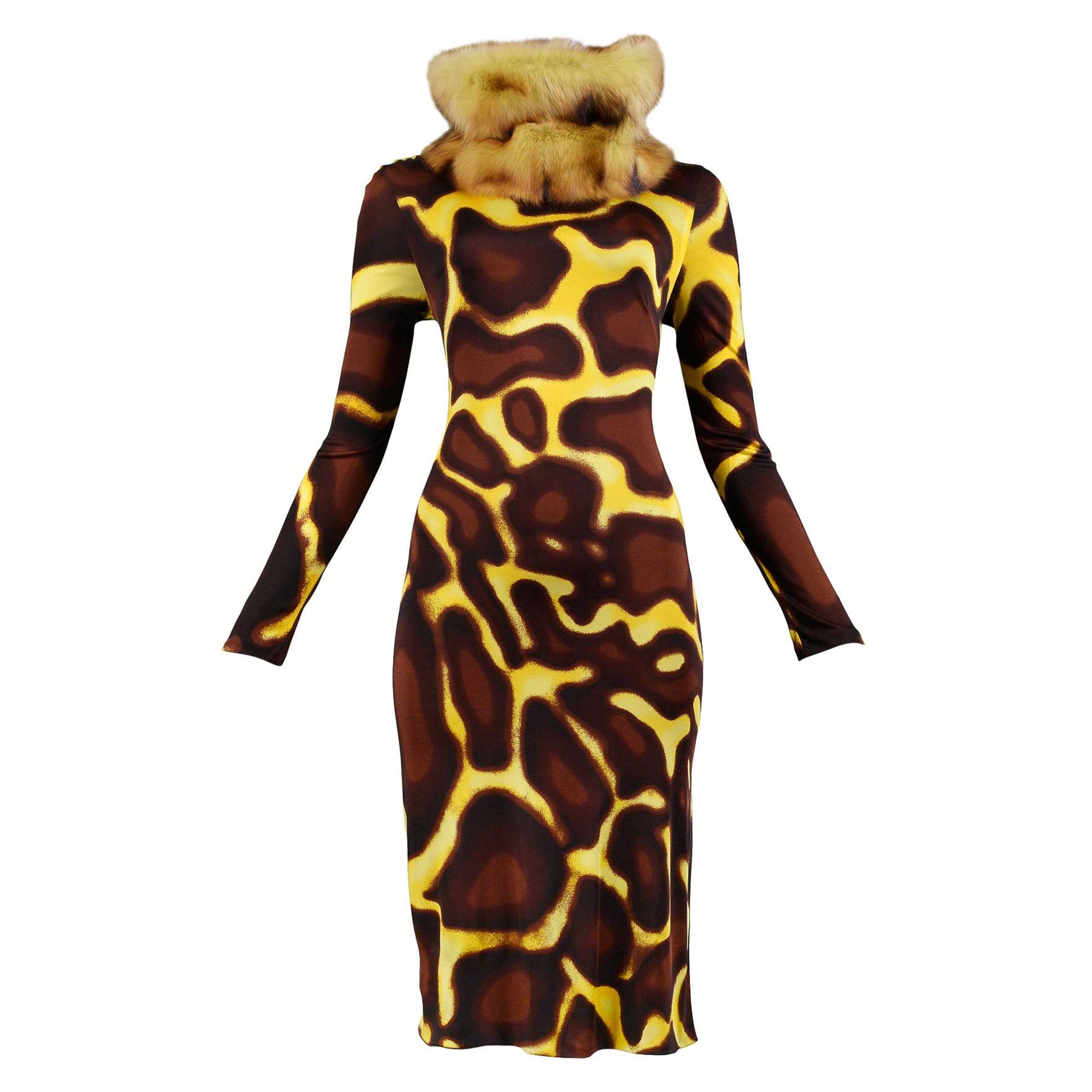 Vintage Versace Yellow Giraffe Print Dress with Fur Collar