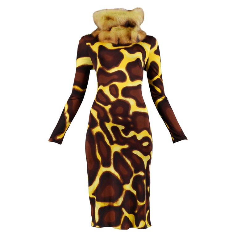 Vintage Versace Yellow Giraffe Print Dress with Fur Collar For Sale