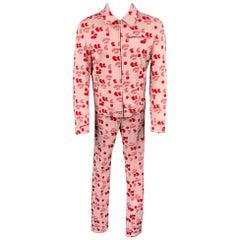 Vintage VERSUS by GIANNI VERSACE Size 38 Pink & Red Print Cotton Zip Up Suit Set