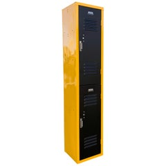 Vintage Vertical Locker Cabinet, Refinished in Matte Black and Yellow Ochre