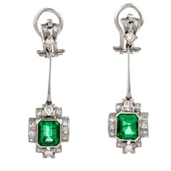 Vintage Very Fine Colombian Emerald Diamond 18 Karat Gold Dangle Drop Earrings