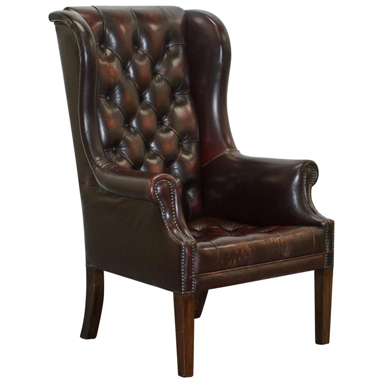 Vintage Very Stylish High Back Chesterfield Oxblood Leather Wingback Armchair