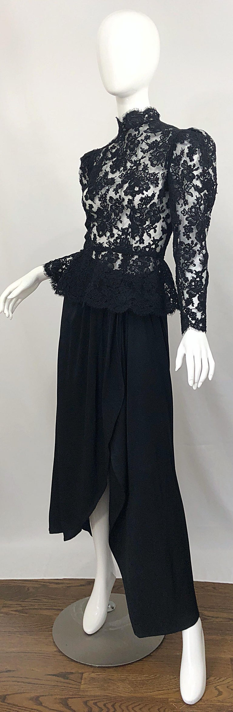 Vintage Vicky Tiel Couture 1980s Black Lace Victorian Top + Asymmetrical Skirt For Sale 6