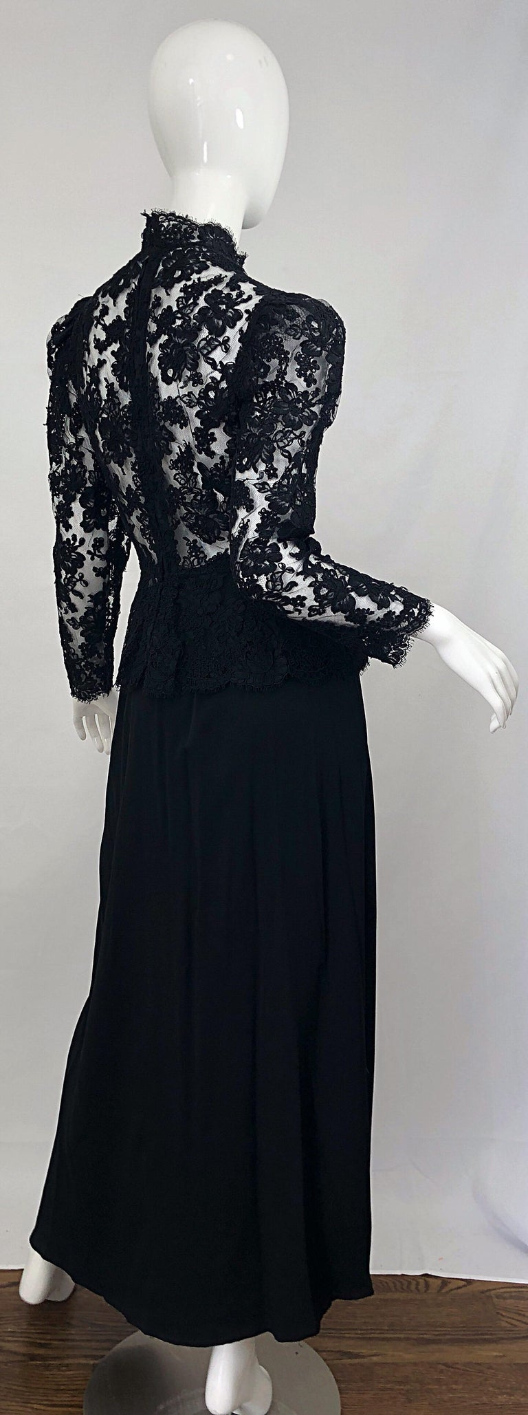 Vintage Vicky Tiel Couture 1980s Black Lace Victorian Top + Asymmetrical Skirt For Sale 7