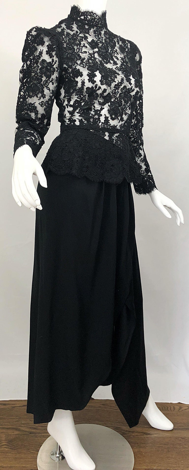 Vintage Vicky Tiel Couture 1980s Black Lace Victorian Top + Asymmetrical Skirt For Sale 8