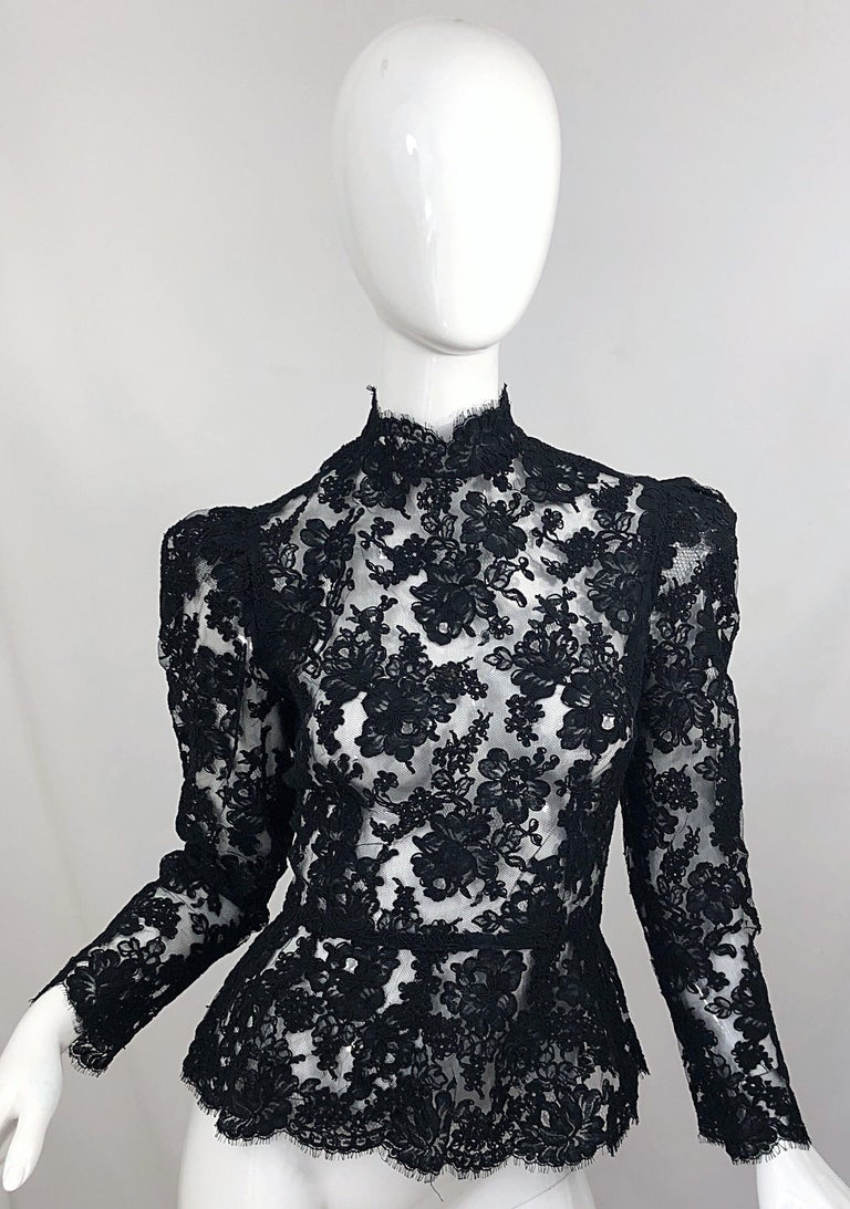 Vintage Vicky Tiel Couture 1980s Black Lace Victorian Top + Asymmetrical Skirt For Sale 9