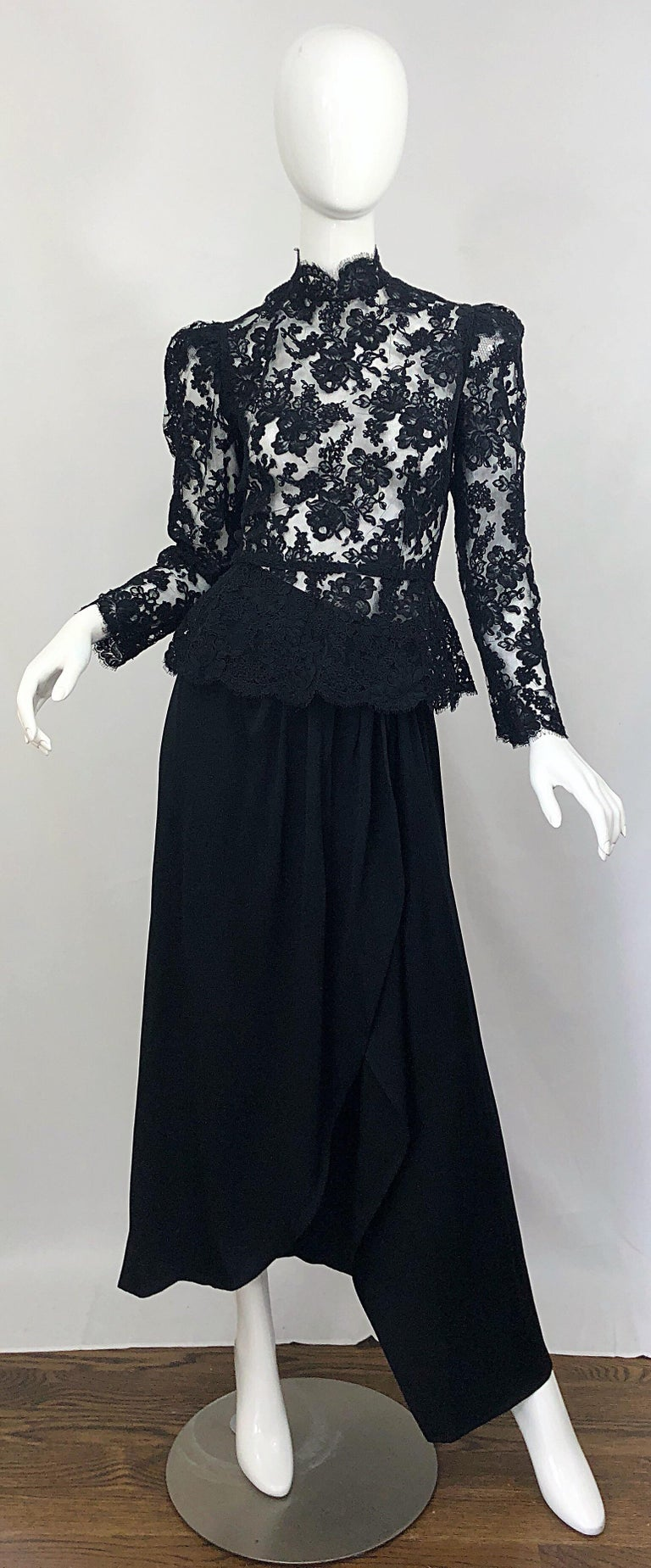 Vintage Vicky Tiel Couture 1980s Black Lace Victorian Top + Asymmetrical Skirt For Sale 10