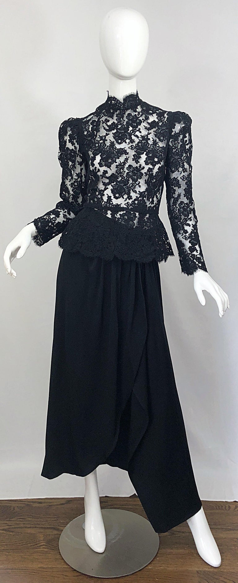 Incredible vintage 80s VICKY TIEL COUTURE black lace and rayon semi sheer blouse and asymmetrical maxi skirt evening gown. ensemble! Victorian inspired lace top features puff sleeves, with an elegant high neck. Full hidden zipper up the back with