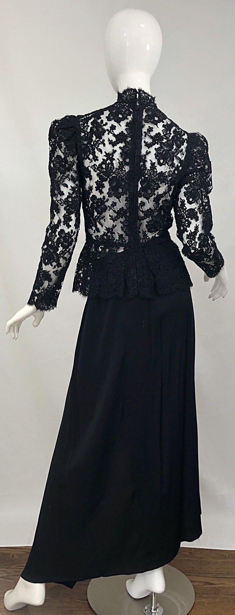 Women's Vintage Vicky Tiel Couture 1980s Black Lace Victorian Top + Asymmetrical Skirt For Sale