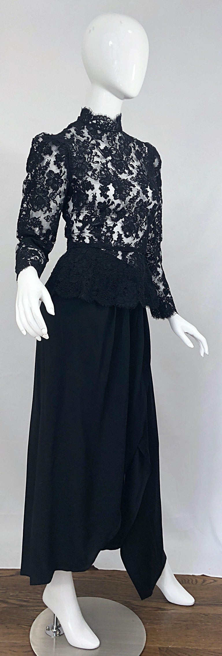 Vintage Vicky Tiel Couture 1980s Black Lace Victorian Top + Asymmetrical Skirt For Sale 1