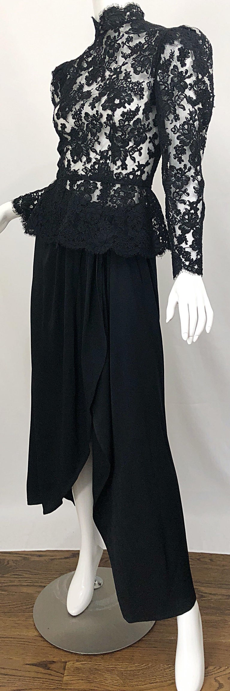 Vintage Vicky Tiel Couture 1980s Black Lace Victorian Top + Asymmetrical Skirt For Sale 2