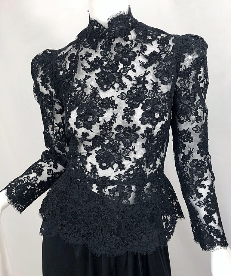 Vintage Vicky Tiel Couture 1980s Black Lace Victorian Top + Asymmetrical Skirt For Sale 3