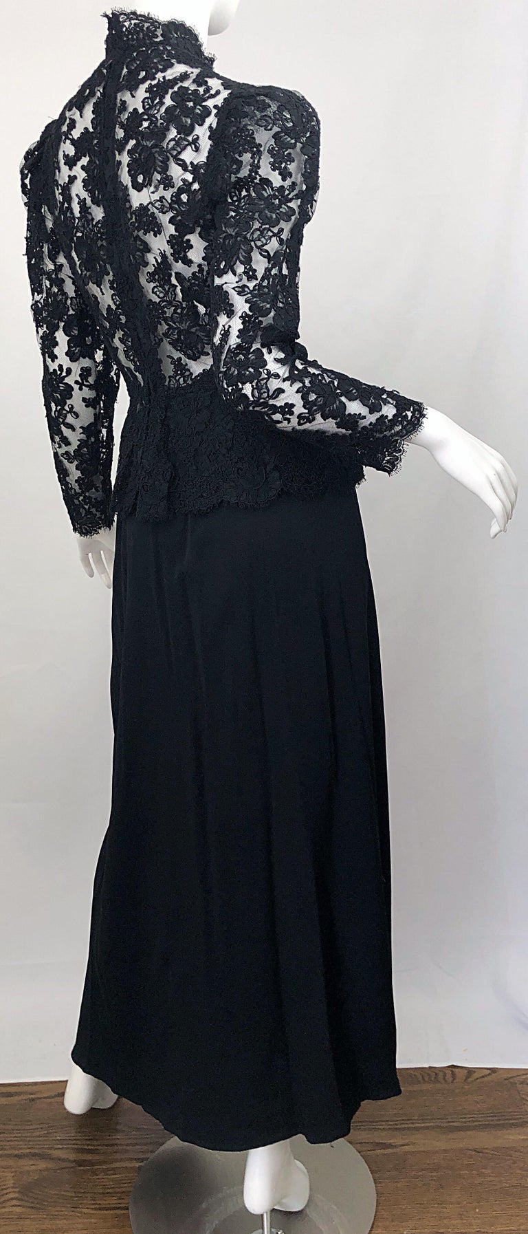 Vintage Vicky Tiel Couture 1980s Black Lace Victorian Top + Asymmetrical Skirt For Sale 4