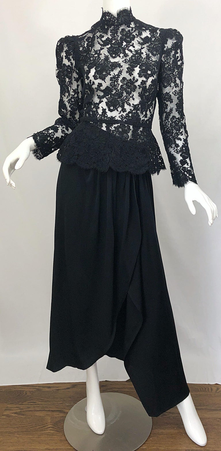 Vintage Vicky Tiel Couture 1980s Black Lace Victorian Top + Asymmetrical Skirt For Sale 5