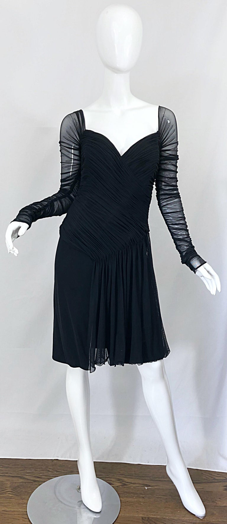 Vintage Vicky Tiel Couture Black Mesh Sweetheart Flirty Cocktail Dress LBD For Sale 6
