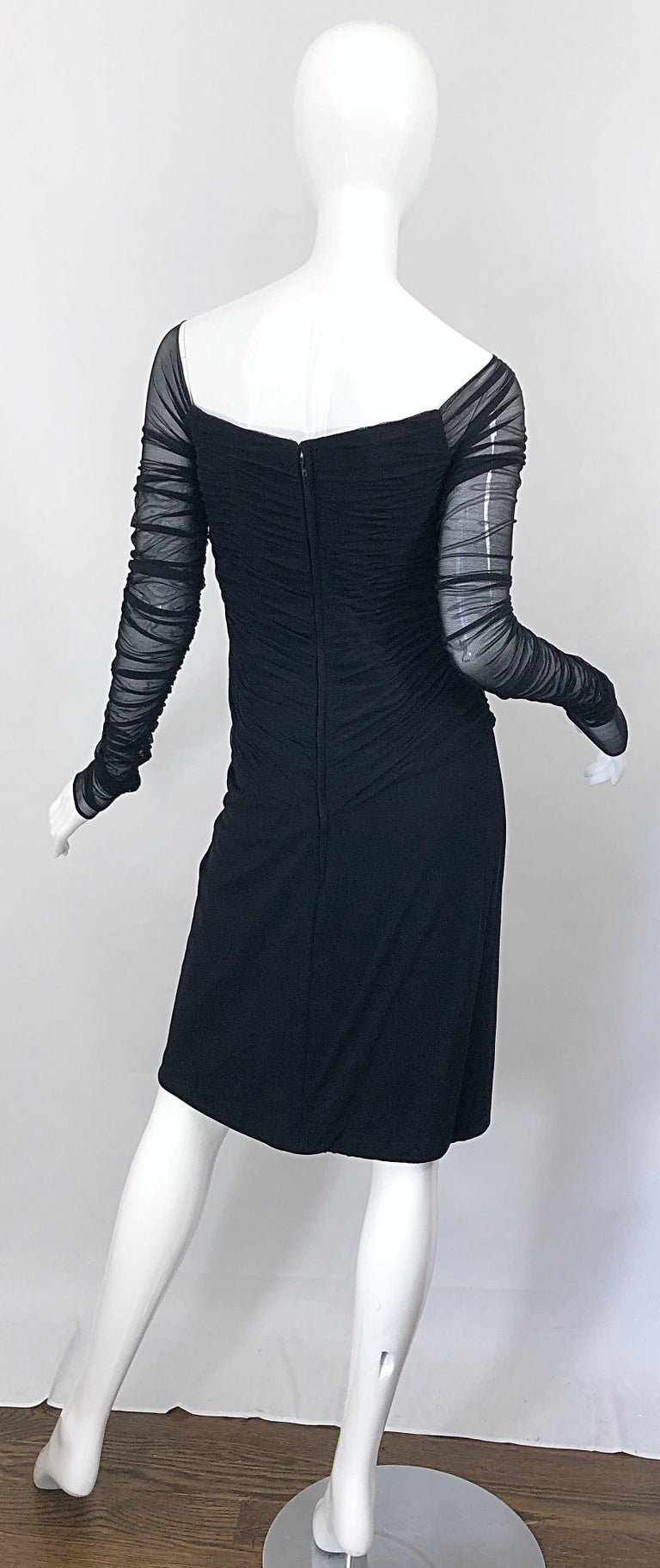 Vintage Vicky Tiel Couture Black Mesh Sweetheart Flirty Cocktail Dress LBD In Excellent Condition For Sale In Chicago, IL