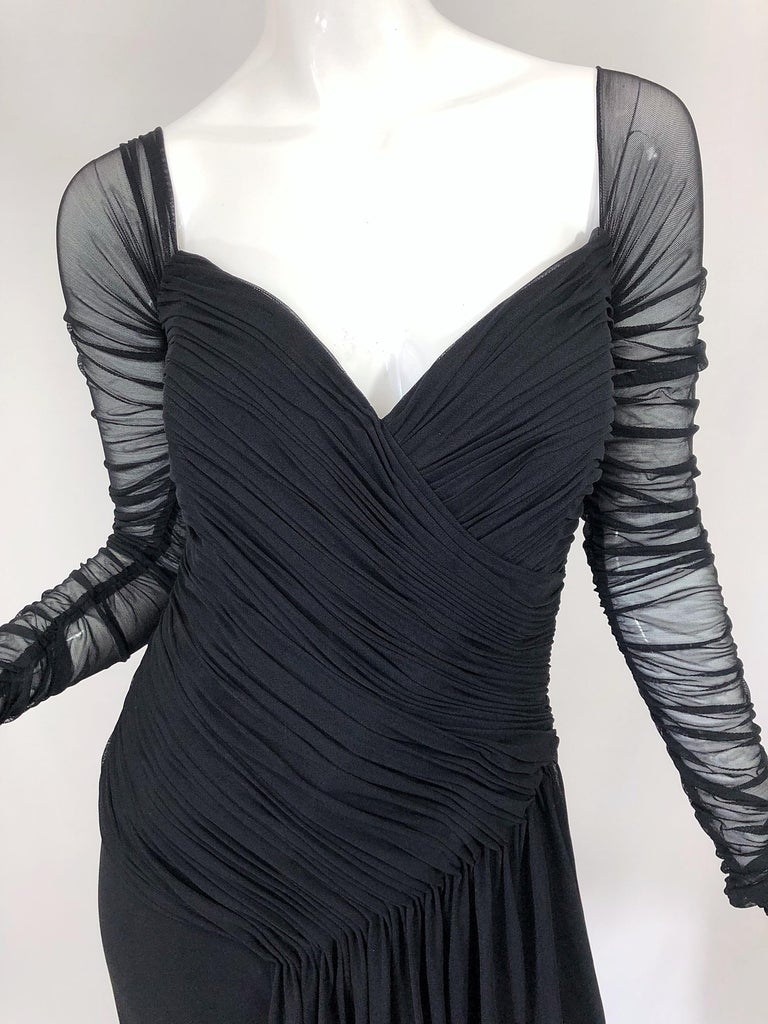 Women's Vintage Vicky Tiel Couture Black Mesh Sweetheart Flirty Cocktail Dress LBD For Sale