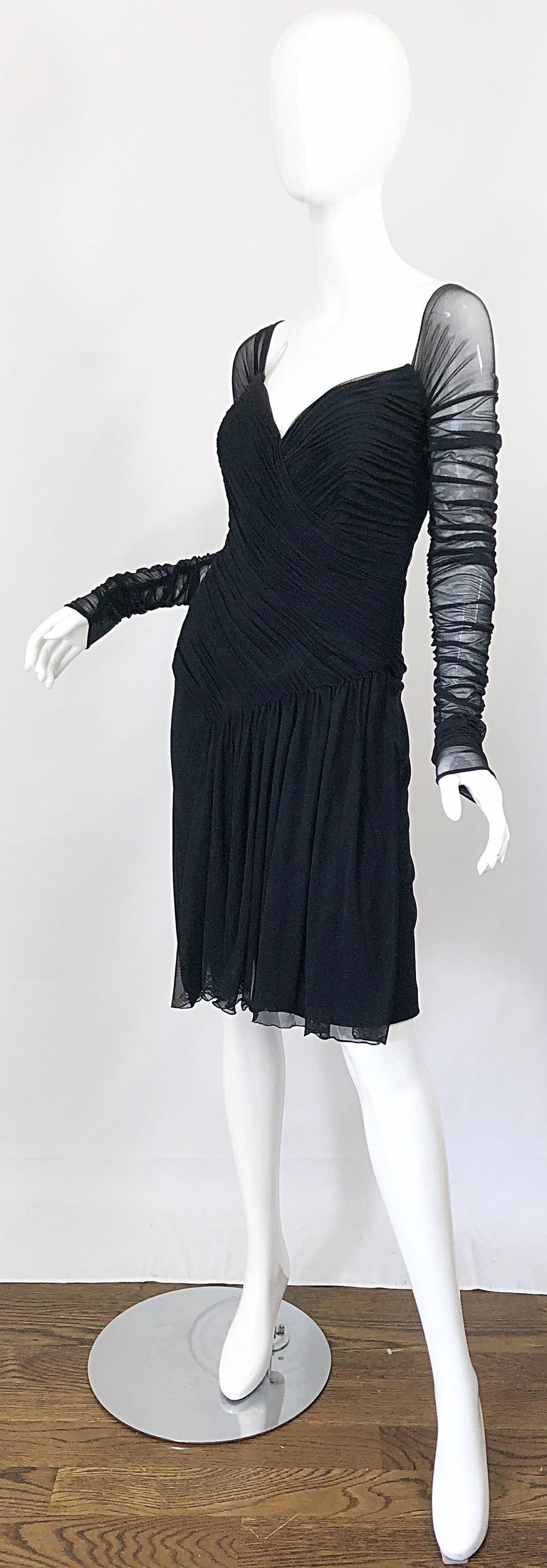 Vintage Vicky Tiel Couture Black Mesh Sweetheart Flirty Cocktail Dress LBD For Sale 1