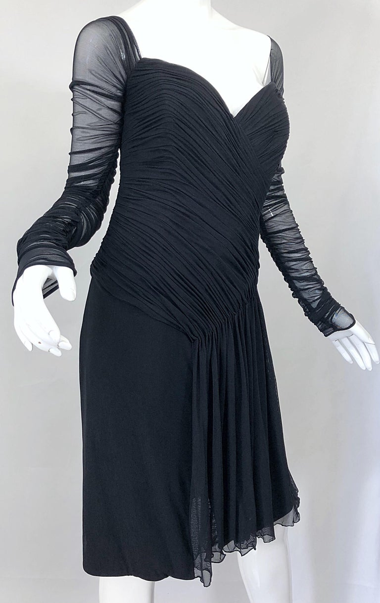 Vintage Vicky Tiel Couture Black Mesh Sweetheart Flirty Cocktail Dress LBD For Sale 2