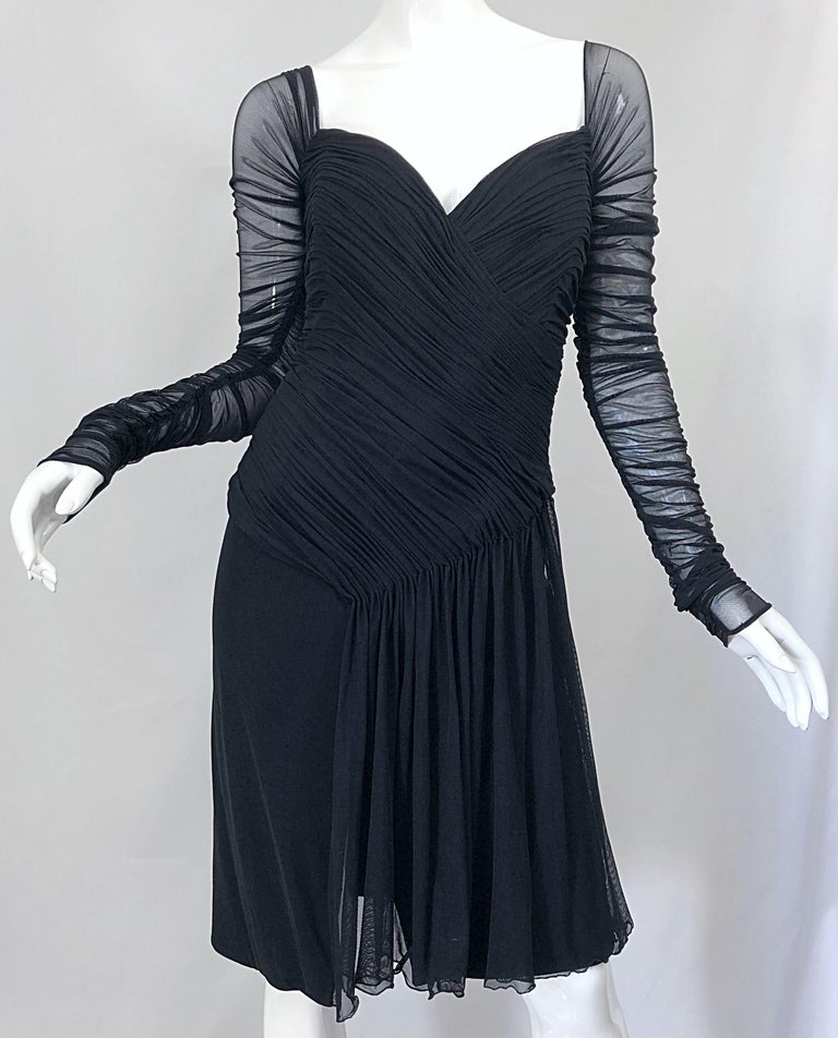 Vintage Vicky Tiel Couture Black Mesh Sweetheart Flirty Cocktail Dress LBD For Sale 3