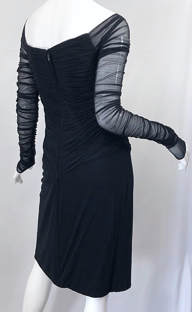 Vintage Vicky Tiel Couture Black Mesh Sweetheart Flirty Cocktail Dress LBD For Sale 4