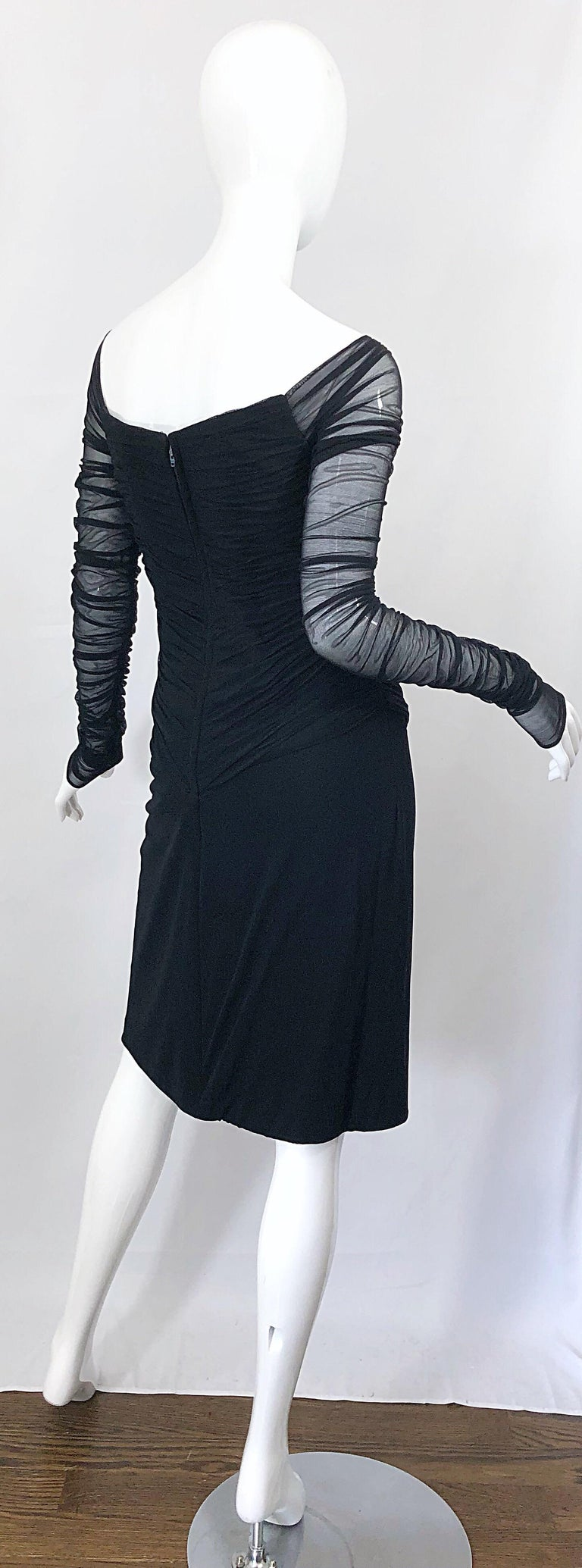 Vintage Vicky Tiel Couture Black Mesh Sweetheart Flirty Cocktail Dress LBD For Sale 5