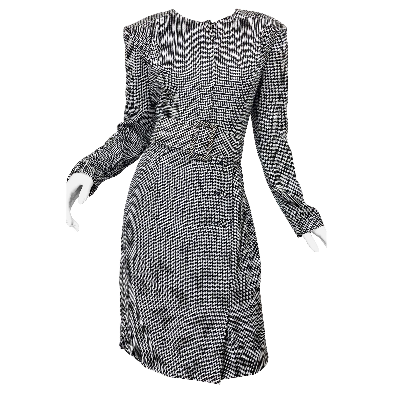 Vintage Vicky Tiel Couture Sz 10 12 Black White Houndstooth Butterfly Silk Dress