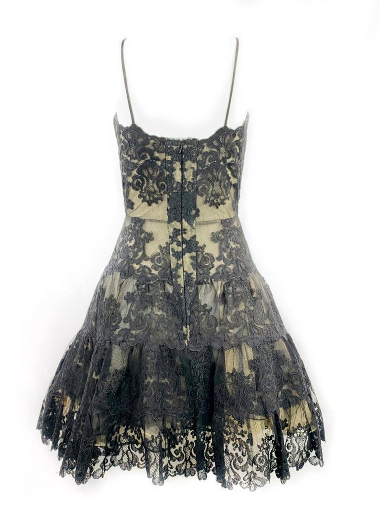 Vintage VICKY TIEL Couture Paris Black Floral Lace Sleeveless Mini Dress Size S For Sale 1