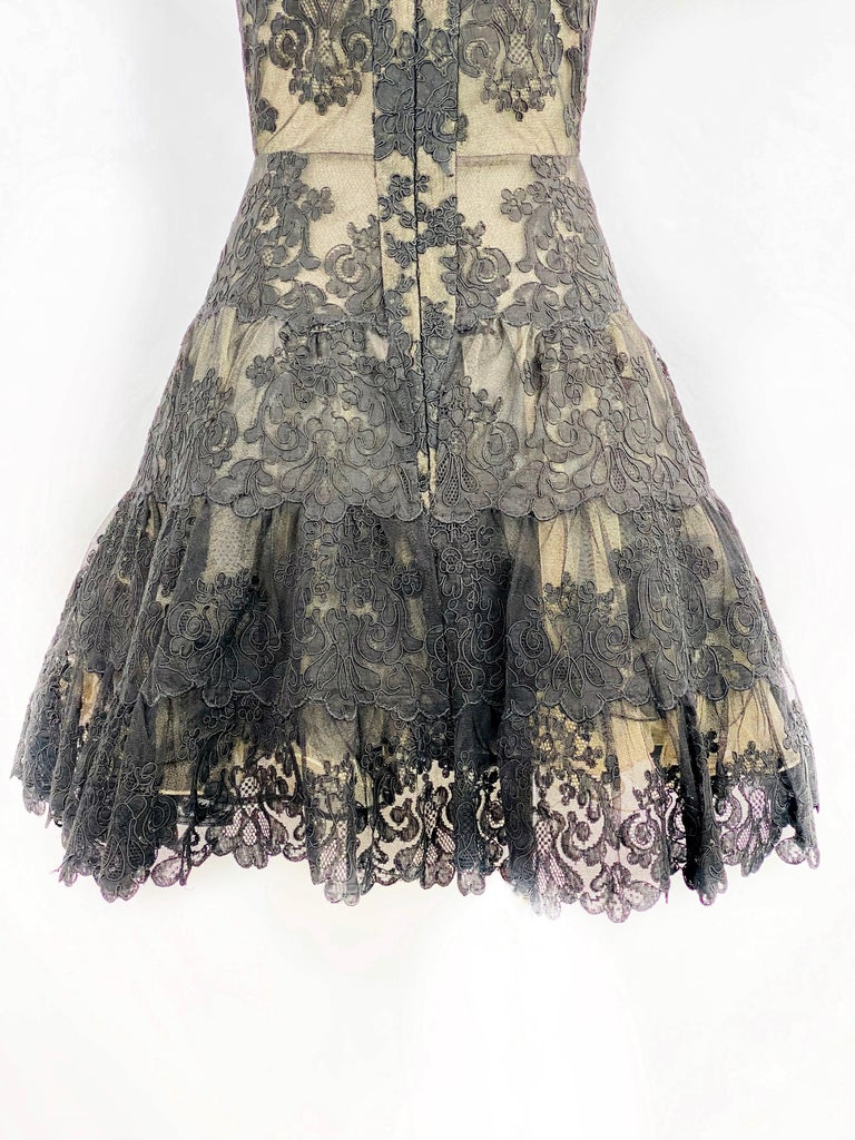 Vintage VICKY TIEL Couture Paris Black Floral Lace Sleeveless Mini Dress Size S For Sale 3