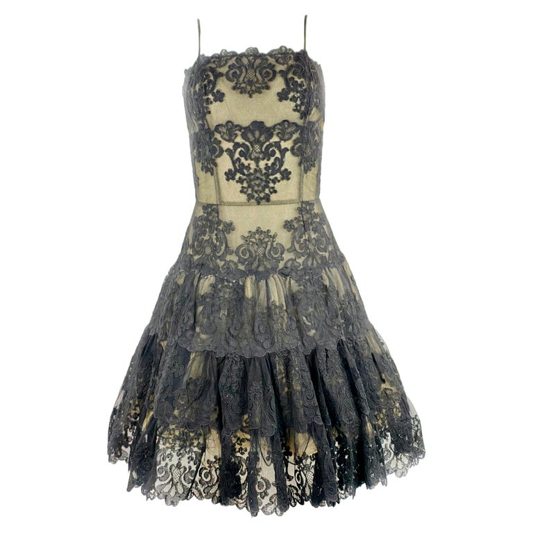 Vintage VICKY TIEL Couture Paris Black Floral Lace Sleeveless Mini Dress Size S For Sale
