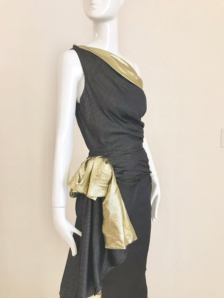 Black Vintage Vicky Tiel Navy Blue and Gold Silk Lamé One Shoulder Gown For Sale