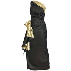 Vintage Vicky Tiel Navy Blue and Gold Silk Lamé One Shoulder Gown
