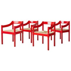 Vintage Vico Magistretti Carimate Dining Chairs in Red Painted Wood, Italy, 1959