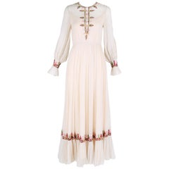 Vintage Victor Costa Maxi Dress w/Embroidery