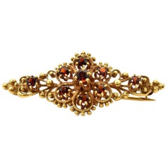 Vintage Victorian 14 Karat Yellow Gold and Garnet Pin