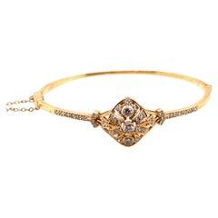 Vintage Victorian Era Reproduction 14k Yellow Gold Diamond Bangle