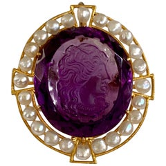 Vintage Victorian Faceted Amethyst, Pearl 14 Karat Yellow Gold Cameo Pendant Pin