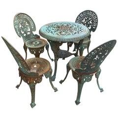 Vintage Victorian Five-Piece Cast Iron Outdoor Patio Set