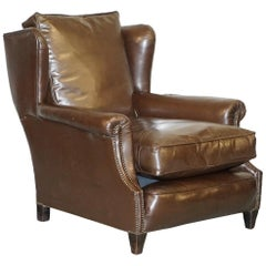 Vintage Victorian Large & Long Brown Leather Wingback Armchair Feather Cushions