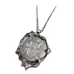 """Vintage Victorian Love Token Wax Seal Coin Pendant in Sterling Silver """"FHH"""""""
