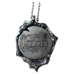Vintage Victorian Love Token Wax Seal Coin Pendant in Sterling Silver