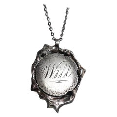 """Vintage Victorian Love Token Wax Seal Coin Pendant in Sterling Silver """"Will"""""""