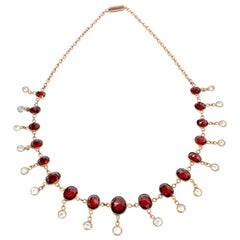 Vintage Victorian  Red Oval Garnet and Clear Crystal Gold Fringe Choker Necklace