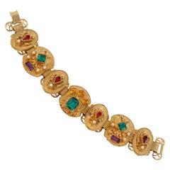 Vintage Victorian Revival Bejeweled Statement Bracelet, circa 1960s